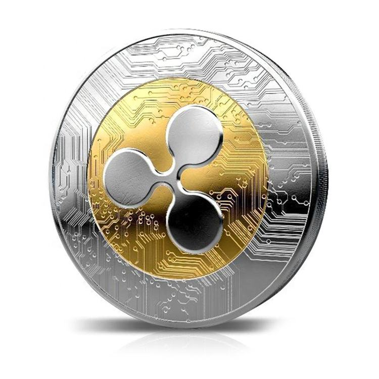 Round Ripple Crypto Currency Plated Coin Collectible BitCoin Art Collection