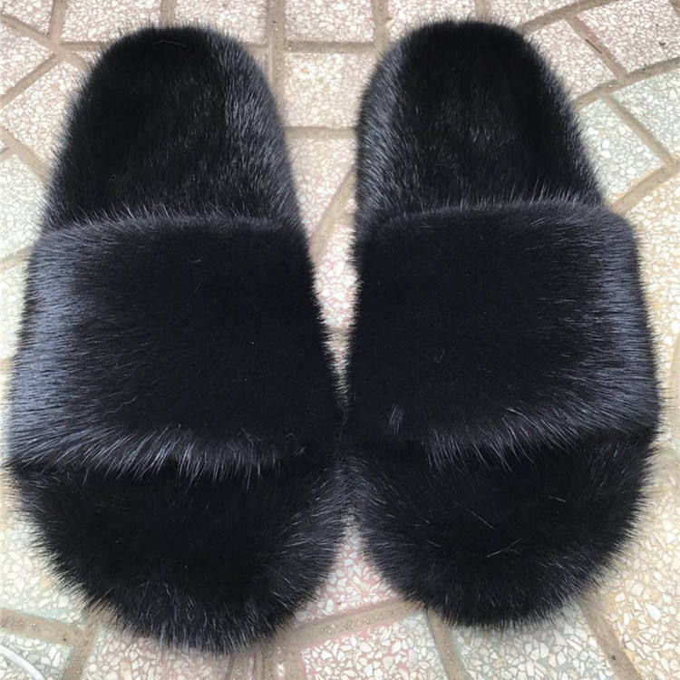 ALICEFUR Wholesale supply PVC sole full fur inclosure mink fur slides real fur slippers for women indoor outdoor
