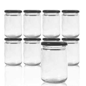 Round 12 oz Airtight Glass Jars with Black Metal Lid - Canning Jars for Jam, Honey, Spices, Arts and Gift Holder 1 Set