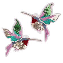 1Pair Custom Sequin Embroidered Sew on Applique Bird Patch