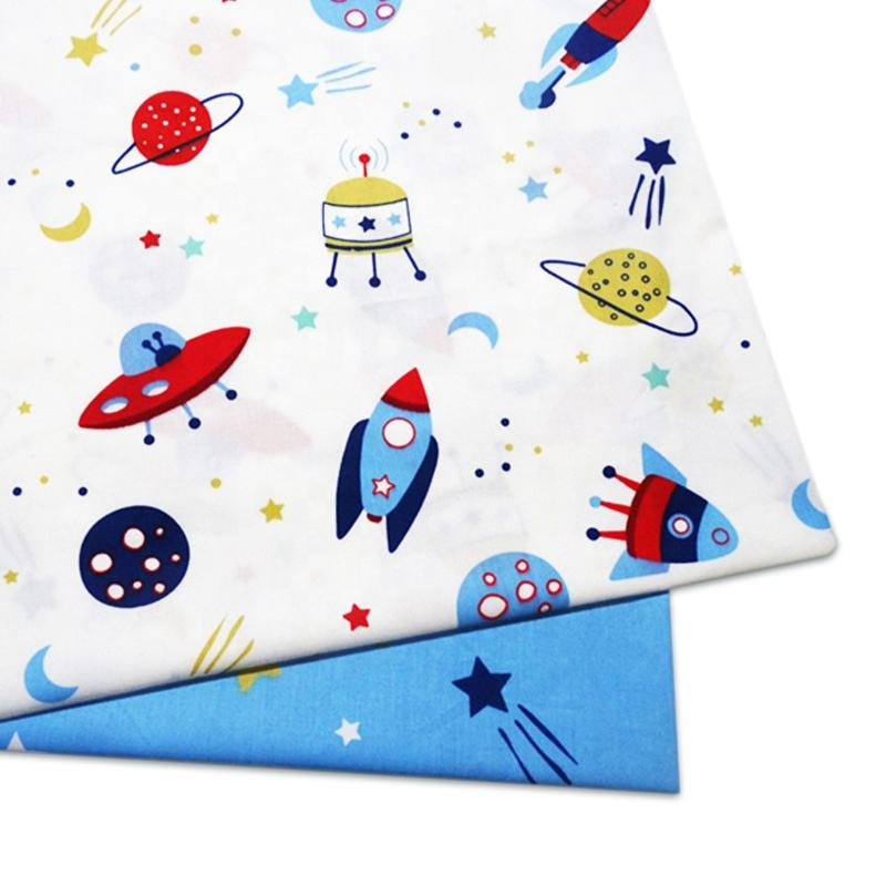 New Cartoon Twill Fabric 100% Cotton Male Baby Cloth Blue Painted