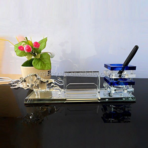 Wholesale custom crystal business card holder with pot holder for office and school supplies