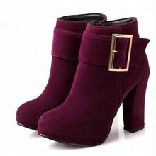 New Arrival Fur Leather Kitten Heel Ankle Boots Shoes Women