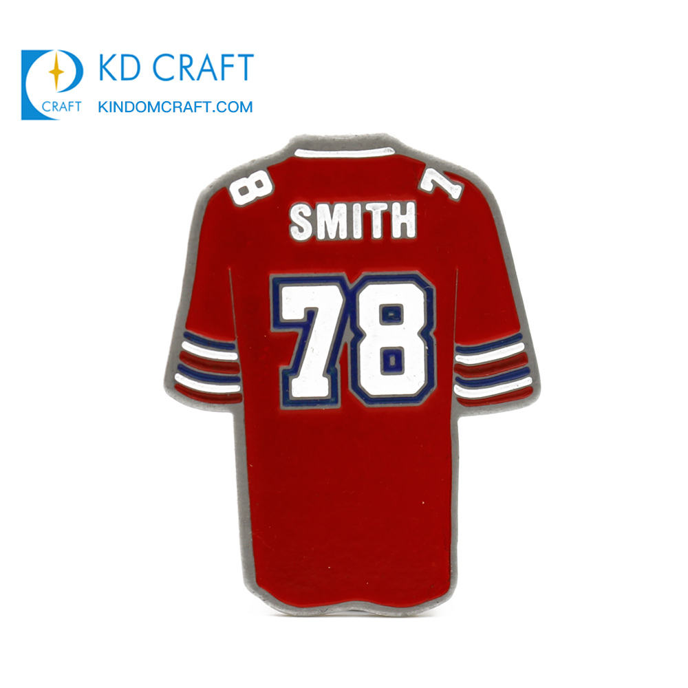 Wholesale cheap custom shaped metal stamped enamel football sports jersey lapel pin for souvenir