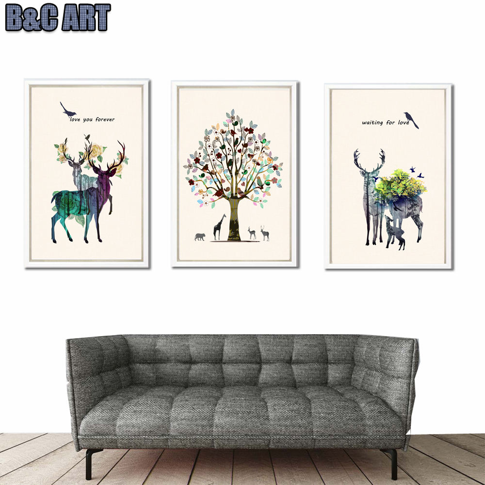 Customized Frameless nordic animal deer art wall printing decorative oil painting on canvas