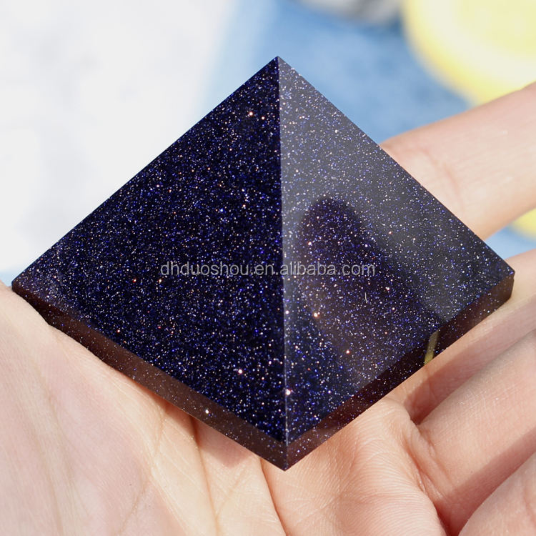 Top Grade Natural Blue Gold Sand Stone Egypt Crystal Pyramid 40mm