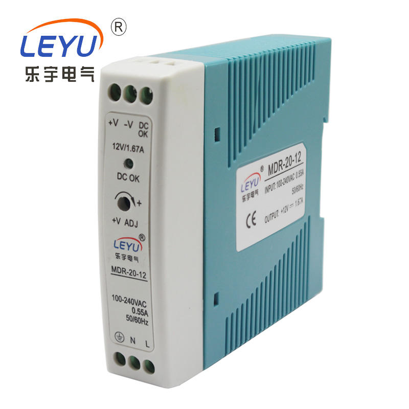 CE RoHS approved Small size Din Rail type 24VDC power supply MDR-20-24 24W 1A switching power supply