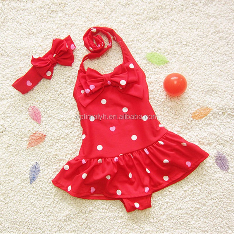 Girls Romper red white dot swimsuits beachwear with matching headband