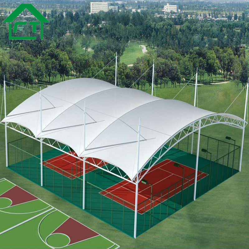 Large Steel Frame Tensile PVDF Roof Basket Court Canopy For Sale