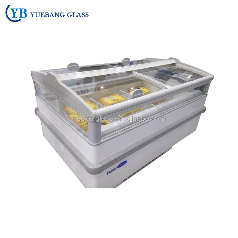 High Quality General Used Commercial Island Freezer Glass Door
