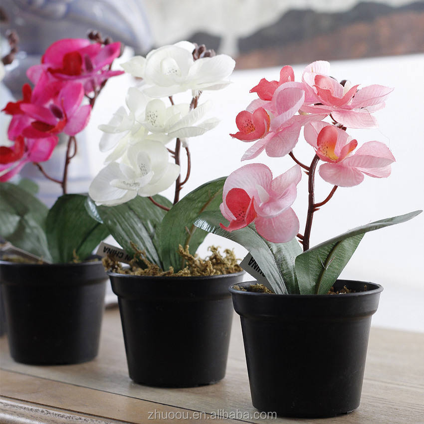 2017 new design silk fake orchids artificial mini orchid plant in pot for home office