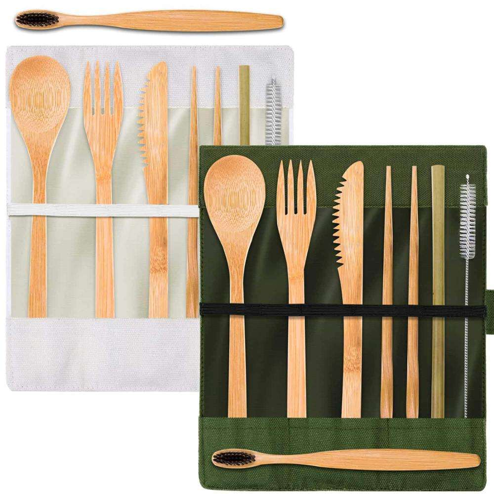 kids royal luxury Bamboo Travel Utensils Cutlery Set with Cotton Pouch,Spoons Forks Knives Chopsticks Straws and Clean Brushes