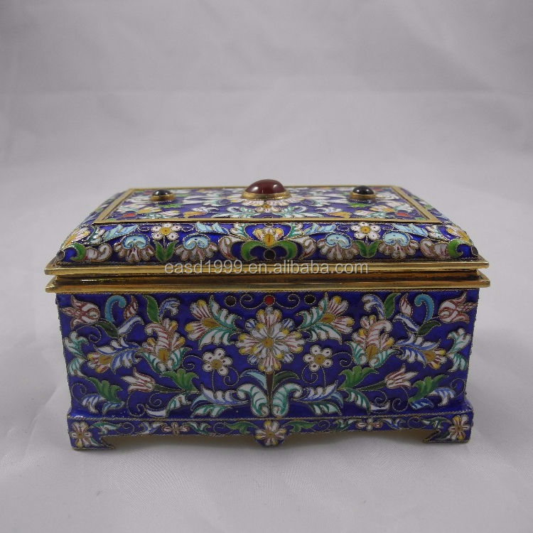 Beautiful Antique Russian Gilded Sterling Silver Enamel Box/Case