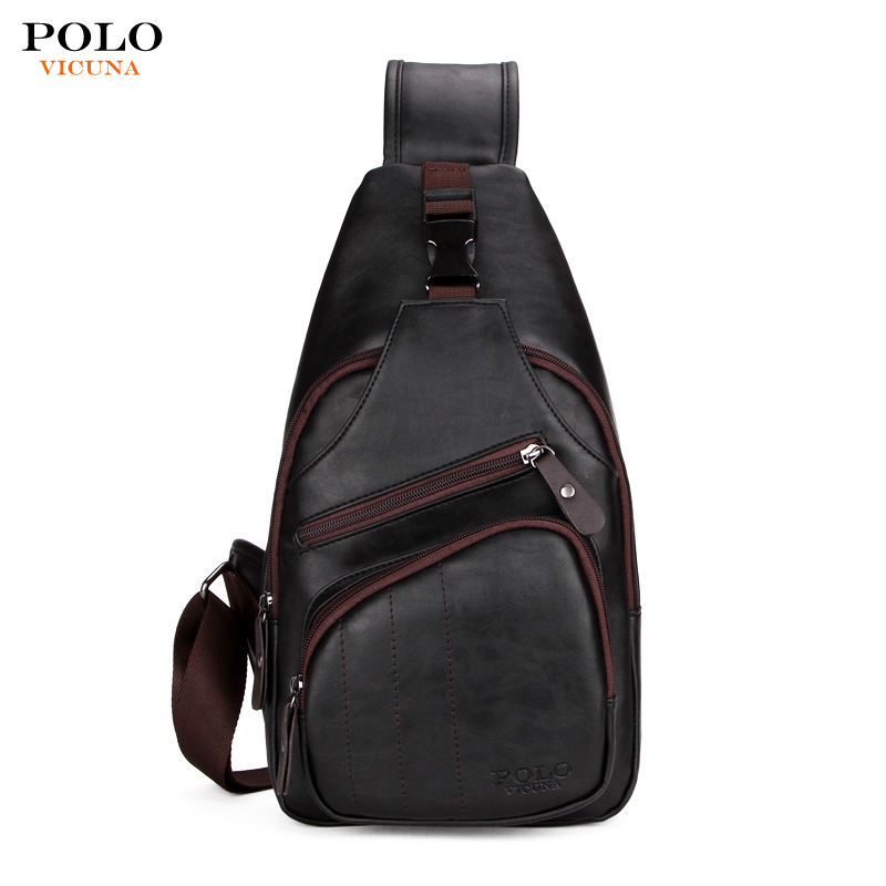 VICUNA POLO Outdoor Sports Single Shoulder Crossbody Sling Bag Leather Satchel Men Fashion Chest Pack