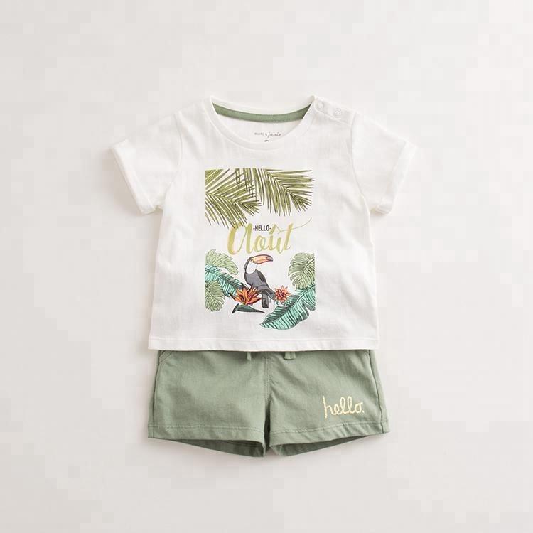 Vente chaude de mode enfants manches courtes costume deux pièces pour garçons et filles coton bébé vêtements 0-3 ans