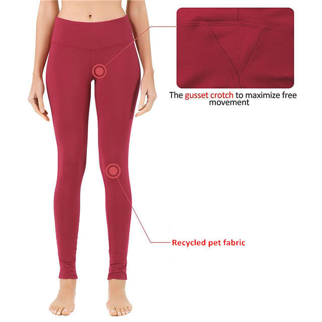 Customised women yoga 84% rpet 16% spandex leggings with gusset crotch