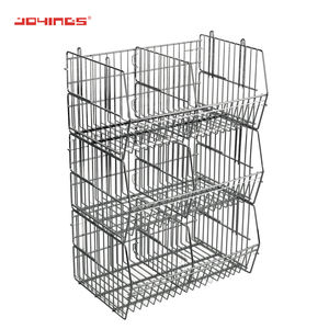 Heavy Duty Metal Stackable Chrome Wire Storage Basket