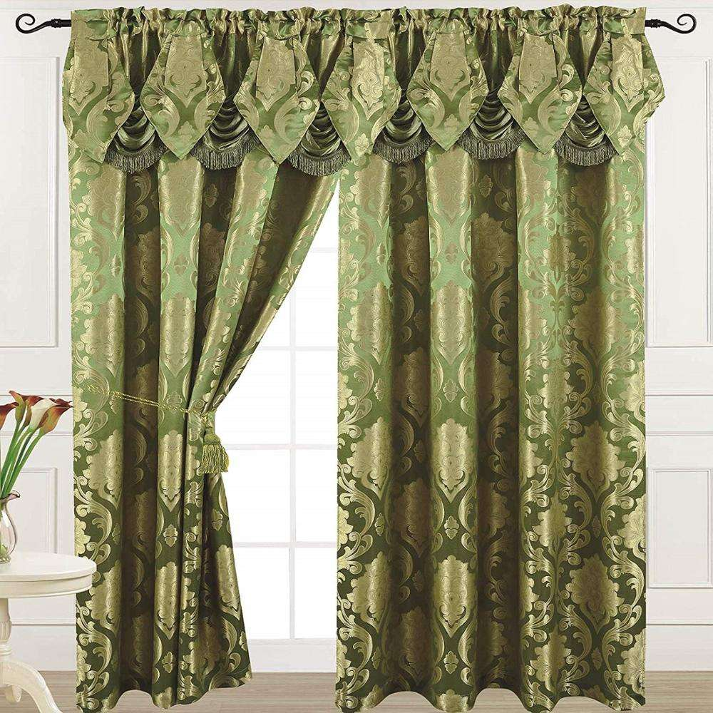 Ready Made Luxury Jacquard Fabric Curtain With Attached Valance ,Free Pattern Luxury Curtain Valance