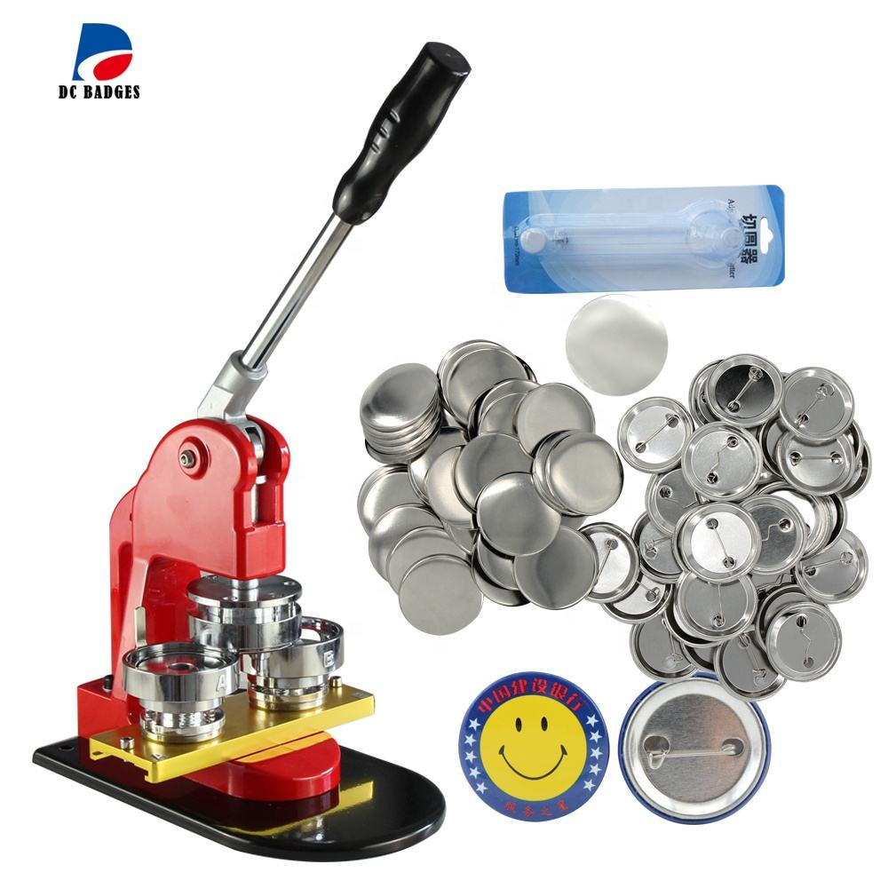 44mm Button Maker Machine Pin Badge press machine with metal pin back button material 500set