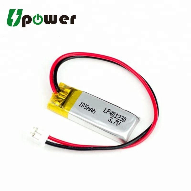 3.7V 105mAh Li Polymer Battery 401230 LiPo Battery with Customized Connector