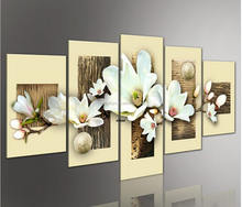 5D 5pcs set white flower blosson modern canvas art flower painting