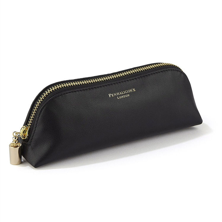 Perfect Fashion Small Zipper Makeup Cosmetic Bag Custom Black Pu Leather Pouch
