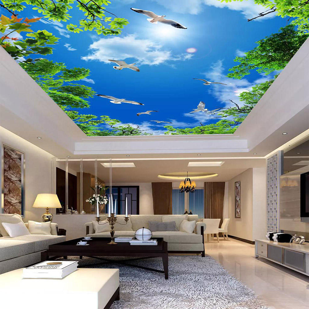 waterproof printable plastic 3D interior home decoration 0.25mm pvc stretch ceiling film