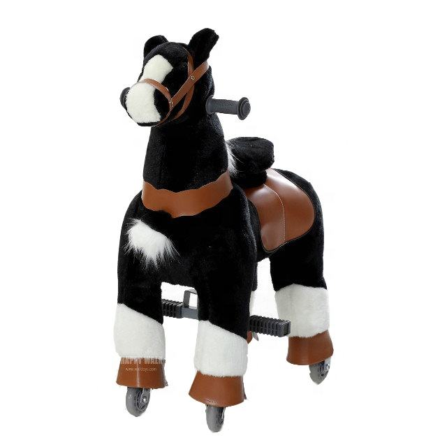 Black Horse Riding Animal walking mechanical horse ride on toy horse on wheels With Wheels