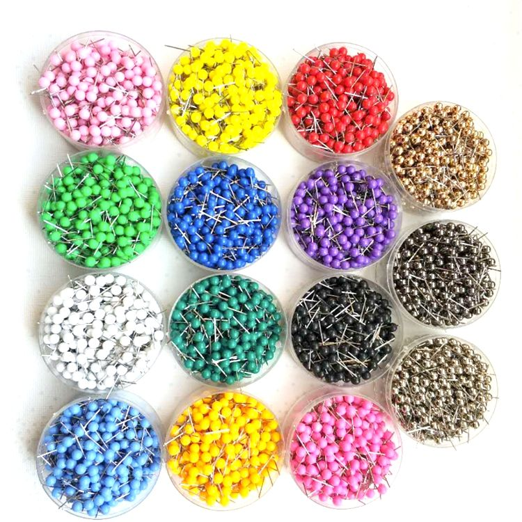 Custom colorful round plastic head map push pins for office supplies