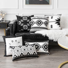 Savvydeco Amazon Set Custom Printed Polyester Linen Kilim Black and White Cushion Cover for Sofa