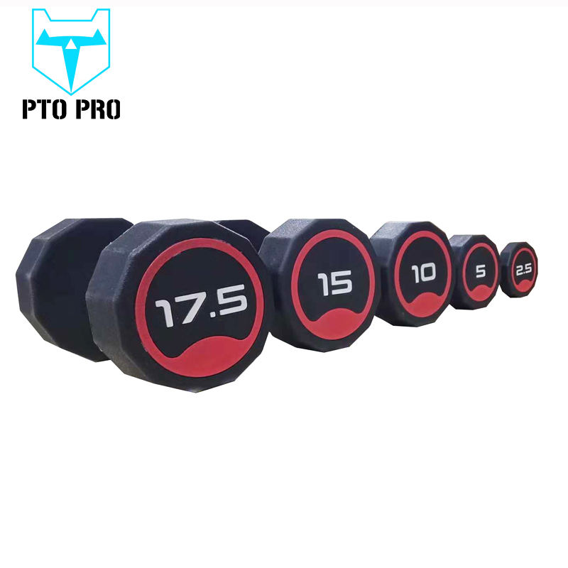 Fitness room professional customized high-grade rubber/PU dumbbell twelve-sided dumbbell