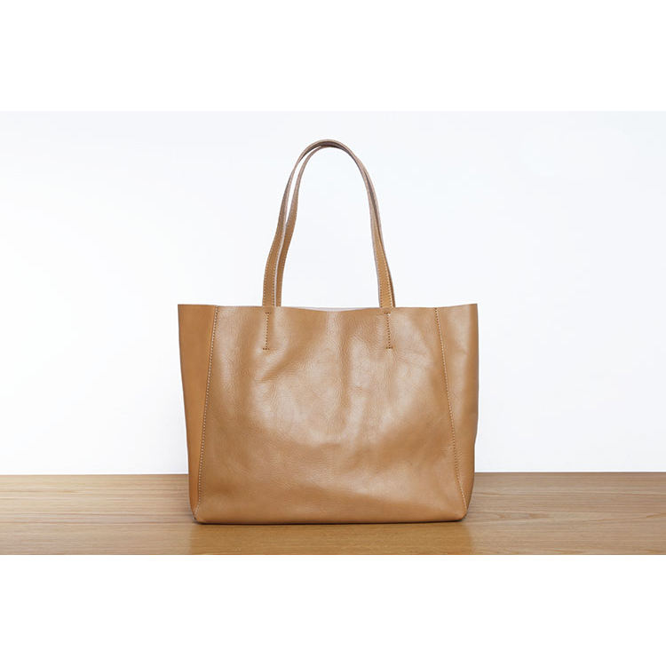 Custom Design Large Capacity Calf Leather Genuine Leather Shopper Hand Tote Bag