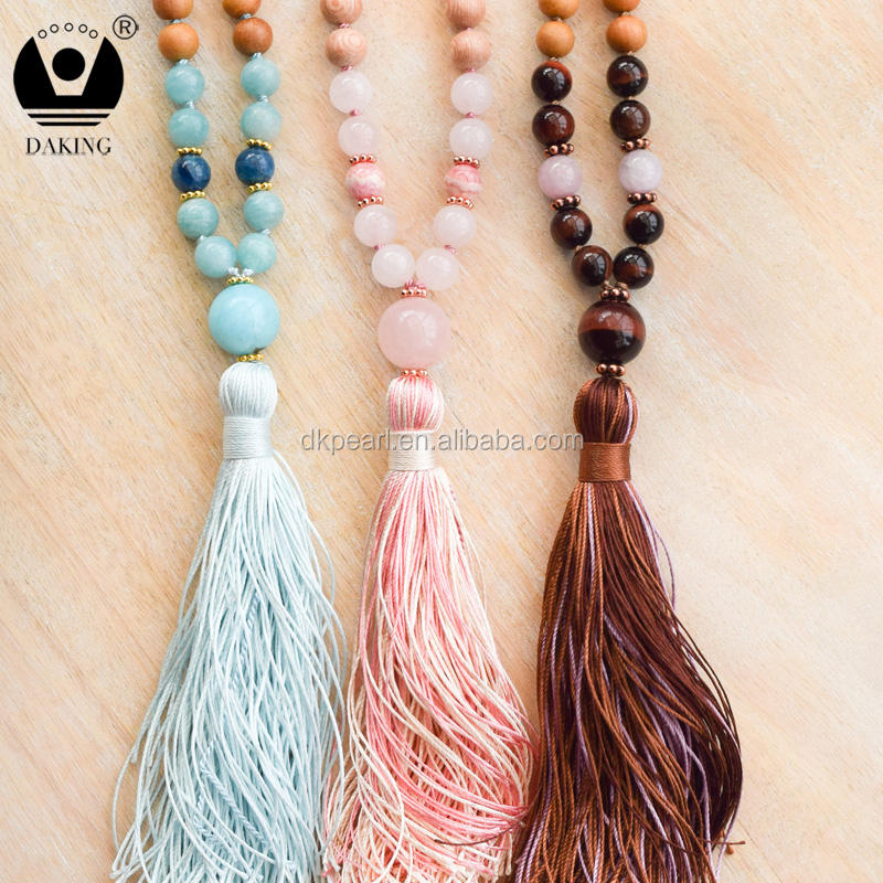 Healing Heart Mala 108 Gemstone Mala Beads Rosewood Rose Quartz Mala Necklace