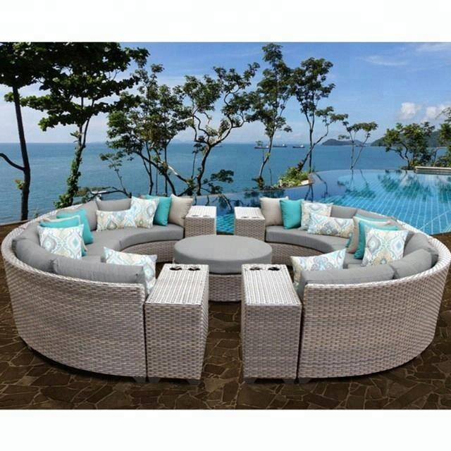 2018 Green all weather roots rattan outdoor round lounge furniture