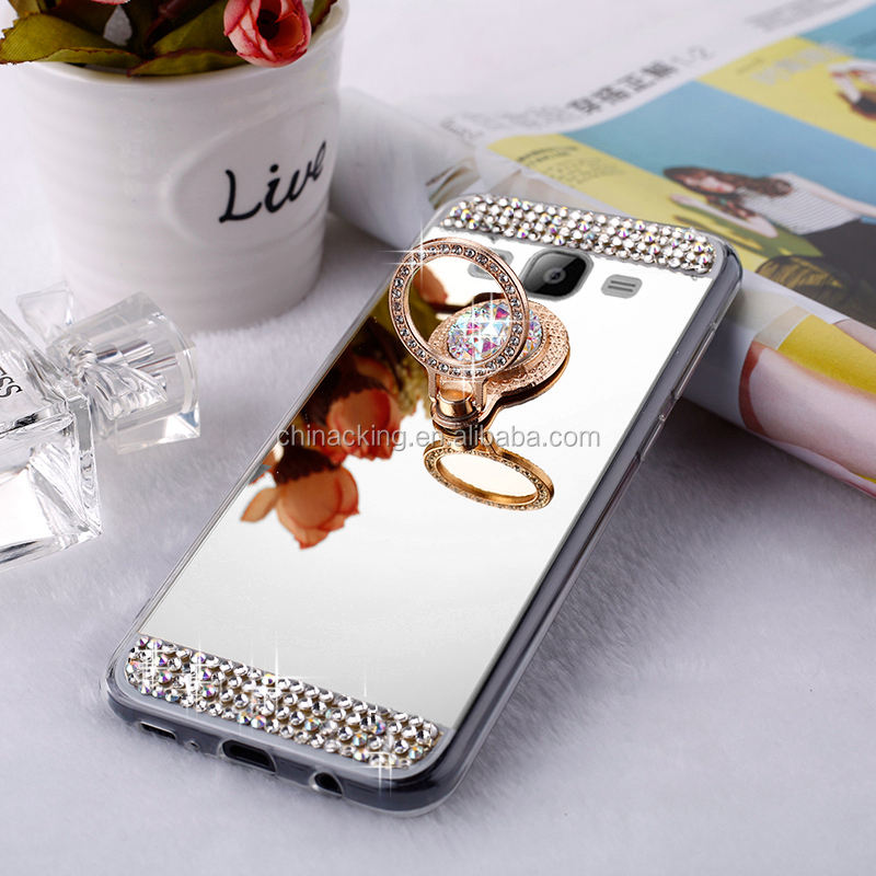 Luxe Lady Diamond Glitter Bling Zachte Spiegel Ring Houder Case Voor Samsung S10 S9 S8 S7 S6 Rand Plus S5 s4 Note 8 9 Cover Case