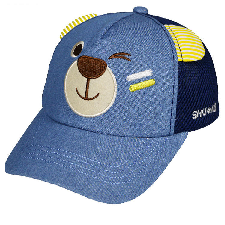Spring and summer little bear wholesale baseball cap boys and girls breathable children's net hole sun baby sports cap