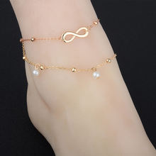 Antique Gold Silver Color Anklet Women Big Blue Stone Beads Bohemian Ankle Bracelet Boho Foot Jewelry Infinity Pearl Anklet