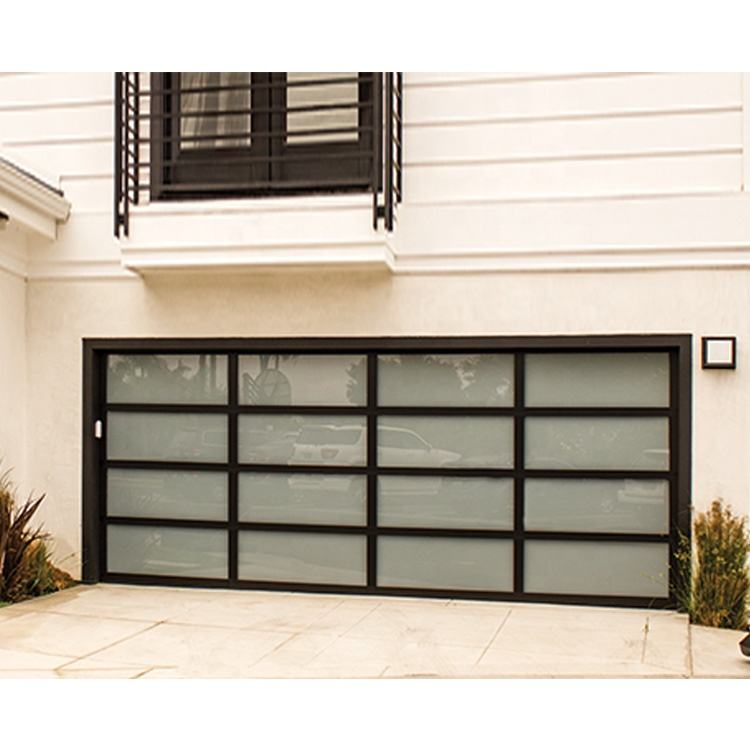 Low price residential automatic black aluminum benefit glass sectional garage door