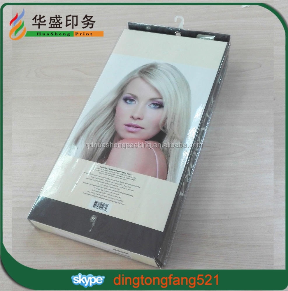 High-end custom design hair package set slide shape box clear window pvc bag Hair extension box with bag