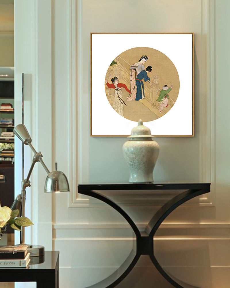 Chinese figurative painting mirror framed painting prints vintage beauties in the Spring of the Han Dynasty traditional art