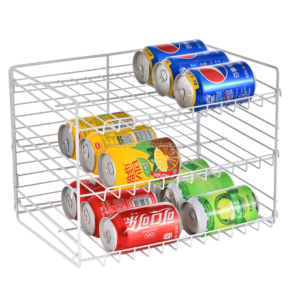 Blanco 3 nivel alimentos enlatados Display Rack, apilable puede Rack organizador