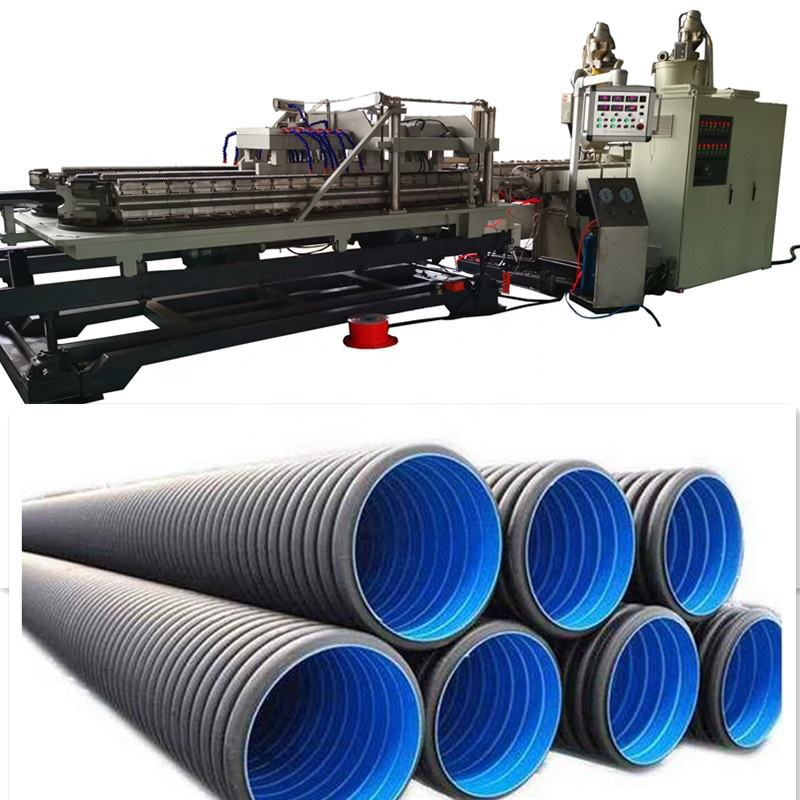 HDPE/PVC double wall corrugated pipe extrusion line machine , double wall corrugated hose making machine
