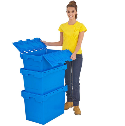 China moving nestable plastic attached lid totes box