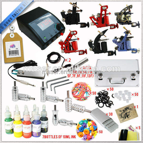 Groothandel In China Pro Tattoo Kit 6 Machinegeweren Tattoo Set