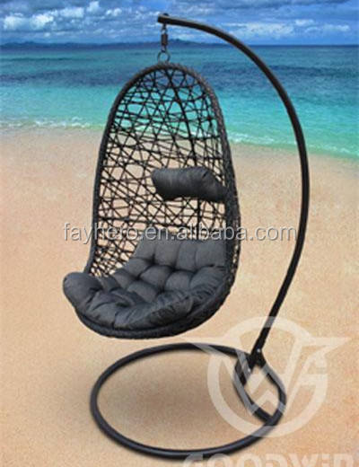 PE rotan telur dewasa ayunan outdoor patio furniture dengan bantal