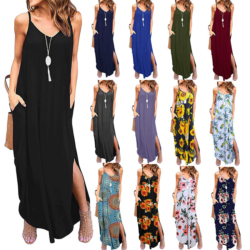 Ecowalson Women's Summer Casual Loose V neck Floral Beach Dress Long Sleeveless Maxi Dresses with Pocket Sundress