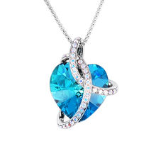 High Quality Heart of Ocean Crystal Love Heart Pendant Necklace For Women