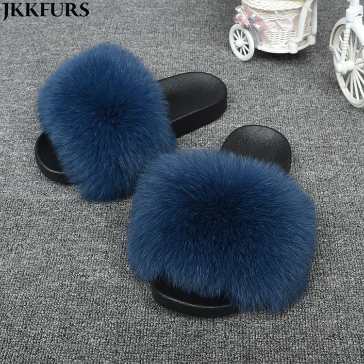 Hot Sale Wholesale Elegant Slippers With Wider Fox Fur Pvc Soft Indoor/Outdoor Slides For Women