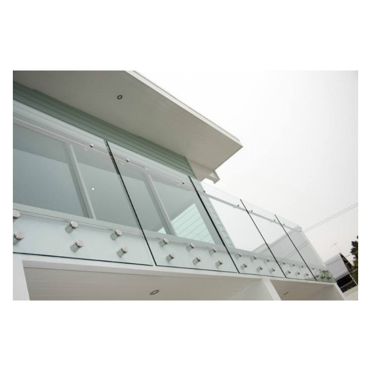 2020 Top Grade Fashionable Point Fixed Stainless Steel Glass Railing with Handrail for Balcony and Porch