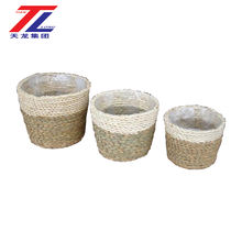 cheap eco-friendly handmade woven straw small decorative flower pots